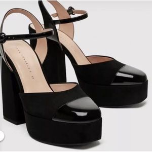 Zara platform black shoes. Size 39. Feels like 8